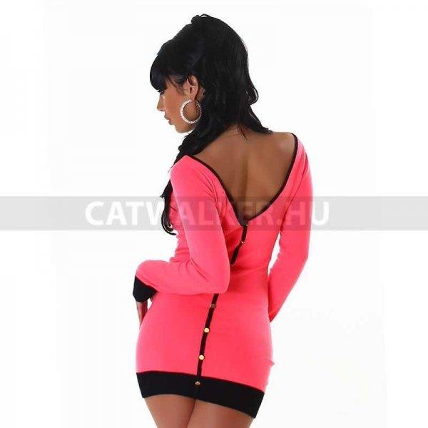 Kötött ruha, pink , csónak nyakkal
